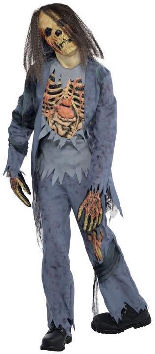 Kids Walking Dead Zombie Corpse Boys Halloween Horror Fancy Dress Childs Costume Thumbnail 1