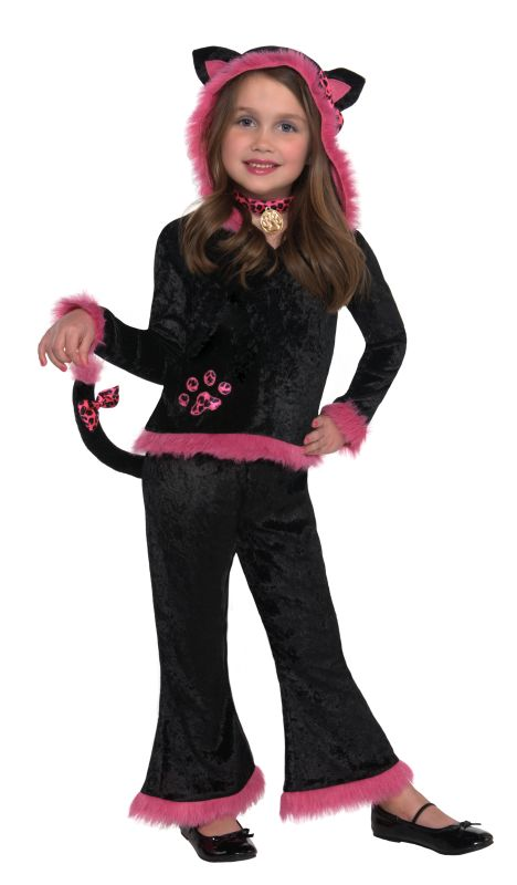 Kids Kuddly Black / Pink Kitty Girls Halloween Fancy Dress Childs Costume Outfit