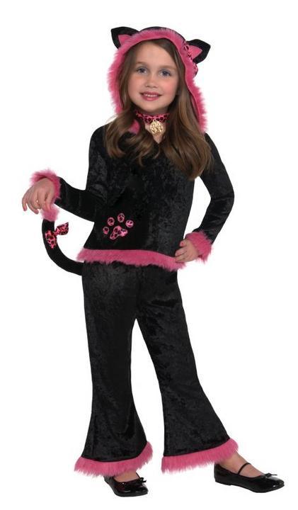 Kids Kuddly Black / Pink Kitty Girls Halloween Fancy Dress Childs Costume Outfit Thumbnail 1