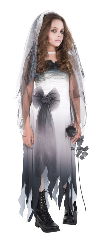 Zombie Graveyard Ghost Bride Girls Halloween Fancy Dress Teen Costume Outfit