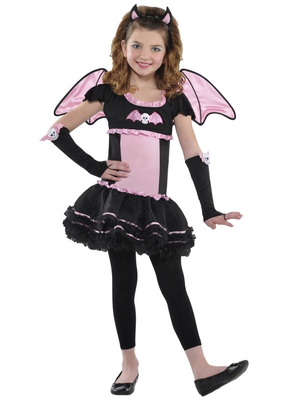 Kids Bat To The Bone Girls Halloween Party Fancy Dress Childs Costume Outfit