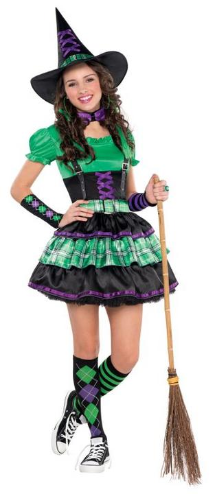 Kids Wicked Cool Witch Girls Halloween Party Fancy Dress Teen Costume Outfit Thumbnail 1
