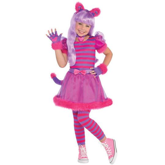 Cheshire Cat Girls Fancy Dress Costume Party Outfit Thumbnail 1