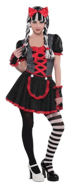 Girls Teen Goth Doll Fancy Dress Costume  Thumbnail 1