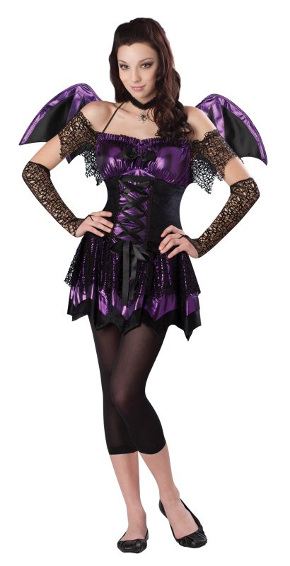 SALE! Kids Spooky Bat  Girls Halloween Party Fancy Dress Teen Costume Outfit