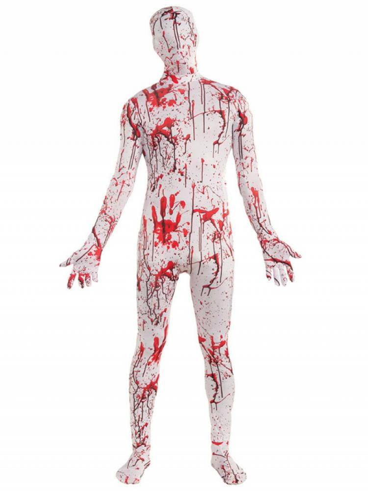 Mens Halloween Bloody Disappearing Skin Suit Costume Fancy Dress Outfit