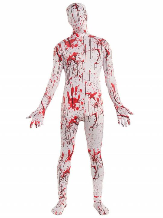 Mens Halloween Bloody Disappearing Skin Suit Costume Fancy Dress Outfit Thumbnail 1