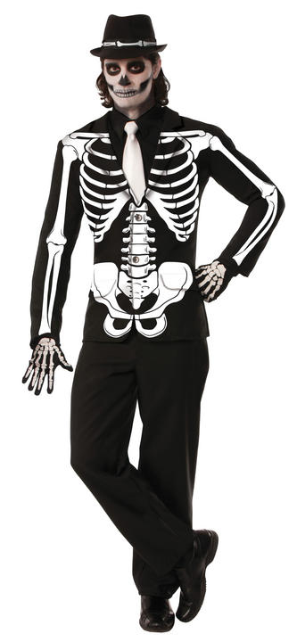 Mens Halloween Skeleton Jacket Costume Gents Halloween Fancy Dress Outfit Thumbnail 1