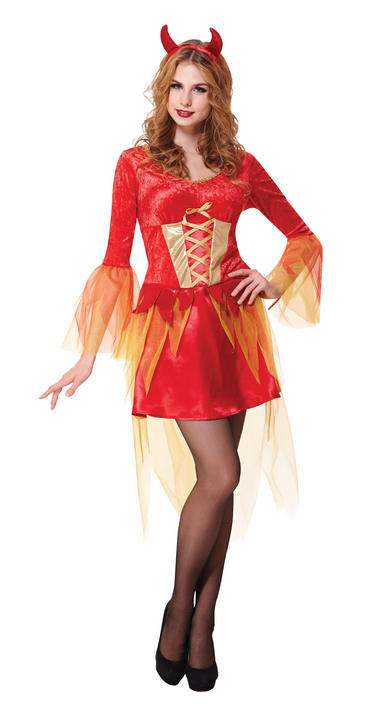 Adult Sexy Gothic Red Devil Ladies Halloween Party Fancy Dress Costume Outfit Thumbnail 1