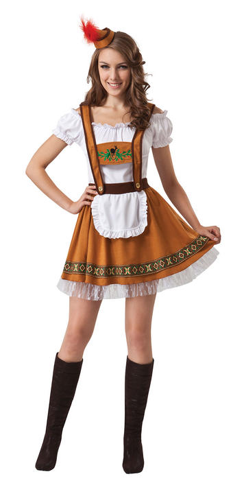 Traditional Deluxe Bavarian Girl Ladies Fancy Dress Costume Hen Party Outfit Thumbnail 1
