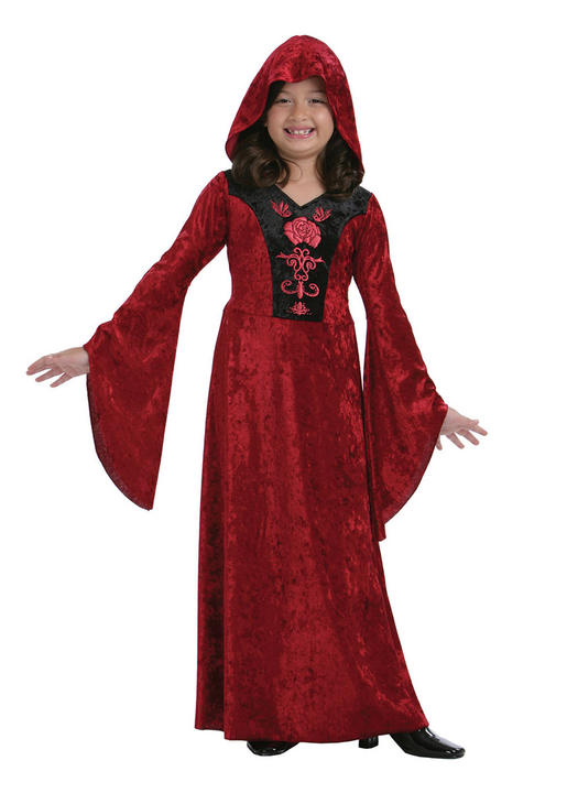 Kids Gothic Vampiress Girls Halloween Party Fancy Dress Childs Costume Outfit Thumbnail 1
