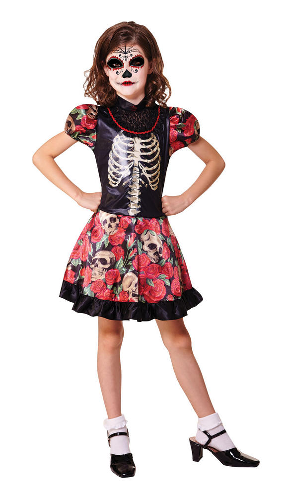 Kids Mexican Day Of The Dead Girls Halloween Fancy Dress Childs Costume Outfit