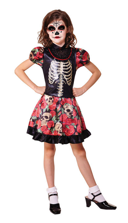 Kids Mexican Day Of The Dead Girls Halloween Fancy Dress Childs Costume Outfit Thumbnail 1