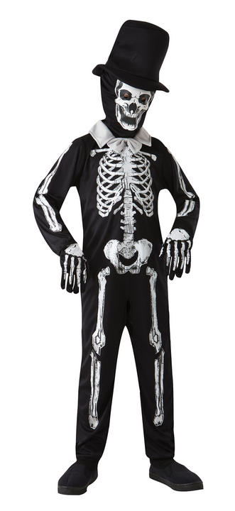 SALE Kids Zombie Skeleton Bones Boys Halloween Fancy Dress Childs Costume Outfit Thumbnail 1
