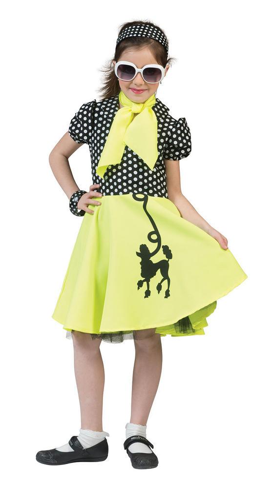 Girls 50 Poodle Dress Yellow /Black