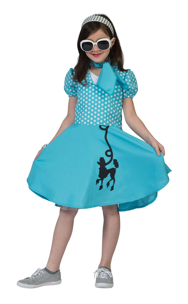 Girls 50s Poodle Dress Blue