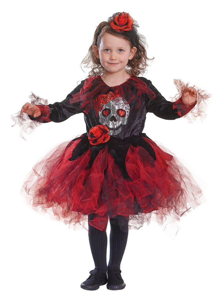 Kids Spooky Skull Tutu Dress Girls Halloween Fancy Dress Childs Costume Outfit