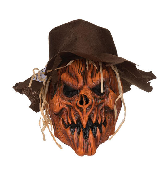 Adult Halloween Horror Scarecrow Skull with Hat Mask Fancy Dress Accessory  Thumbnail 1