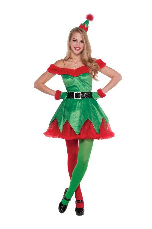 Deluxe Santa's Litle Helper Elf Ladies Fancy Dress Costume Xmas Party Outfit