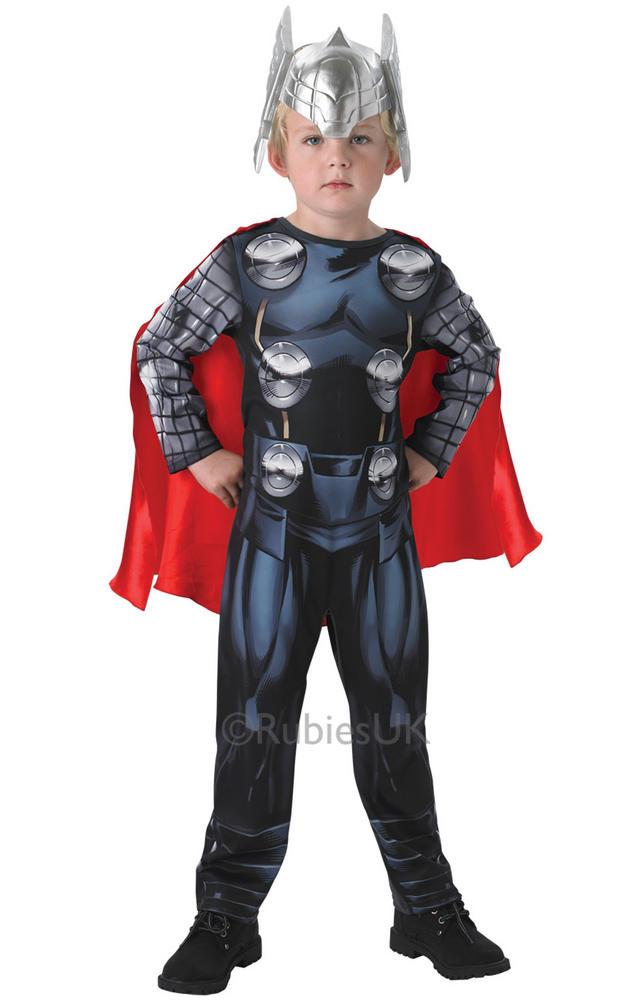 SALE! Marvel Avengers Assemble Thor Boys Fancy Dress Up Classic Costume & Helmet