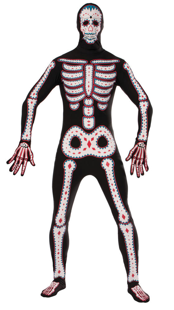 Adult Day Of The Dead Disappearing Skeleton Mens Halloween Fancy Dress Costume