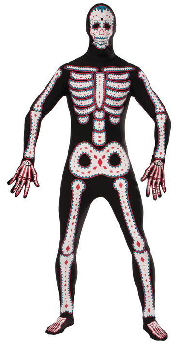 Adult Day Of The Dead Disappearing Skeleton Mens Halloween Fancy Dress Costume Thumbnail 1