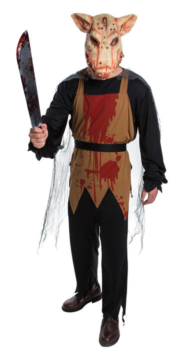 SALE! Adult Pig Butcher Mens Halloween Horror Fancy Dress Costume Party Outfit Thumbnail 1