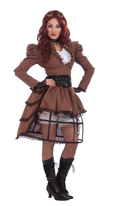 Steampunk Womens Costume Ladies Victorian Fancy Dress outfit Wild West  Thumbnail 1