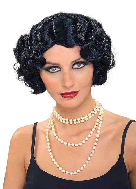 Womens Vintage Hollywood Black Wig Thumbnail 1