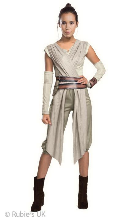 Womens Disney Star Wars Rey Costume Ladies Fancy Dress Outfit Thumbnail 1