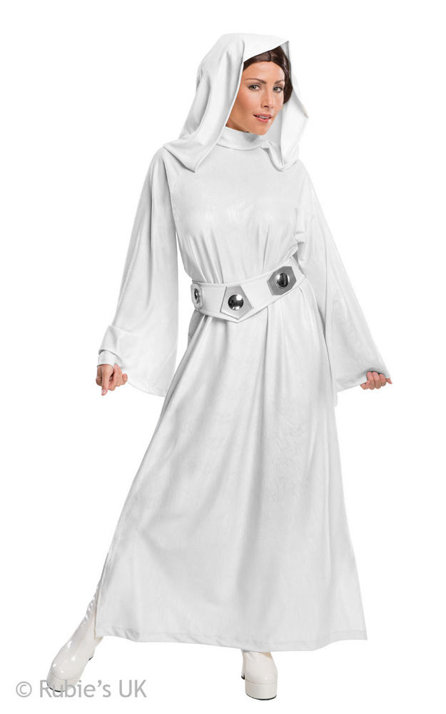 Womens Disney Star Wars Hooded  Princess Leia Fancy Dress Costume
