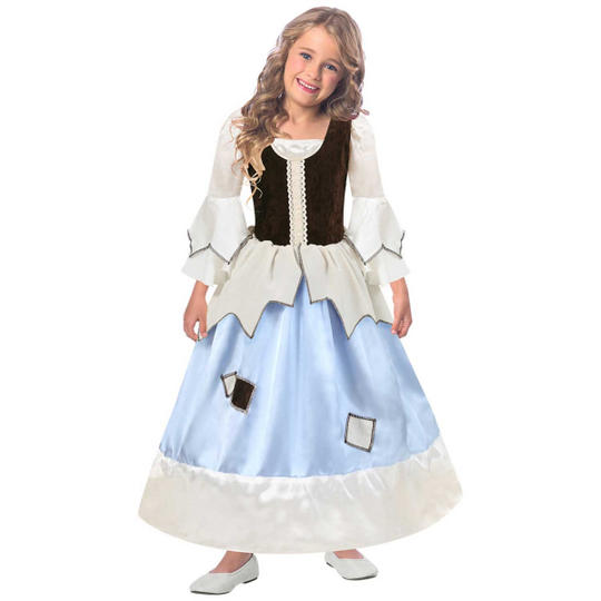 Girls Reversible Princess/Pauper 2-in-1 Fancy Dress Costume Thumbnail 1