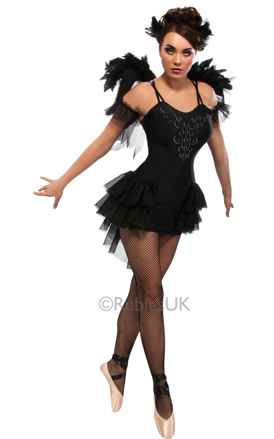 womens halloween black swan ballet costume ladies fancy dress outfit