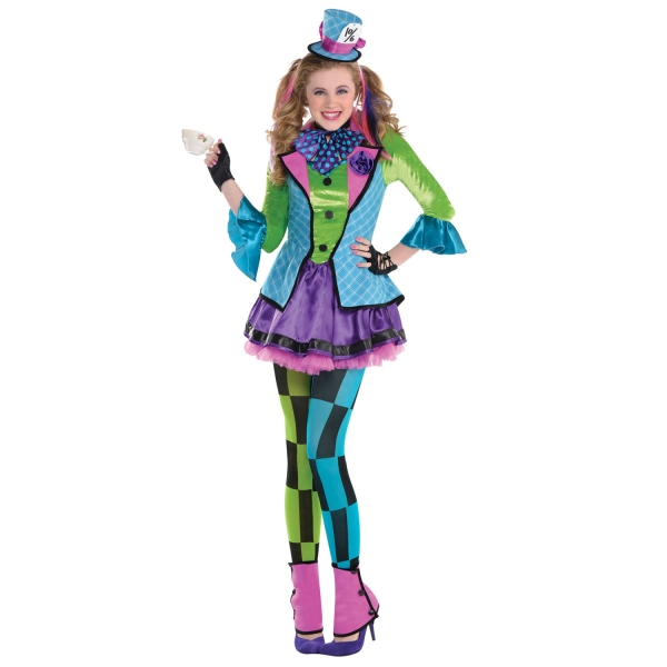 Girls mad hatter costume kids teen school book week fancy dress wonderland outfi