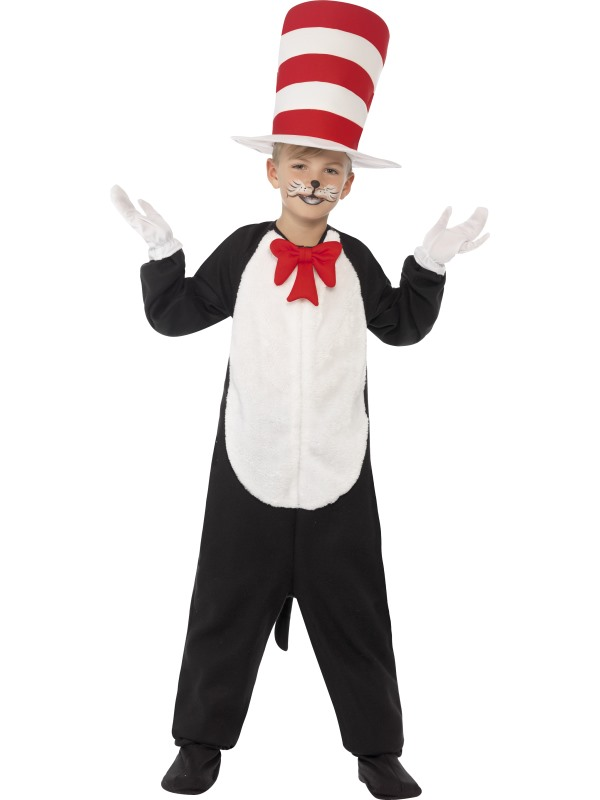 Kids DR SEUSS Cat In The Hat Boys Book Week Fancy Dress Costume Party Outfit