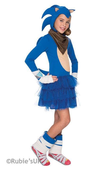 Girl's Sonic The Hedgehog Fancy Dress Costume Thumbnail 1