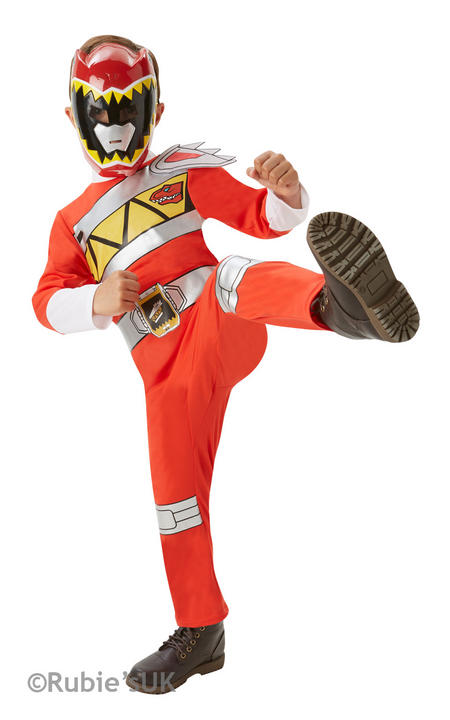 Red Power Rangers Dino Charge Costume Boys Superhero Fancy Dress Party Outfit Thumbnail 1