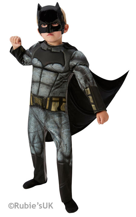 Boys Deluxe Dawn of Justice Batman Costume Kids Fancy Dress Outfit Thumbnail 1