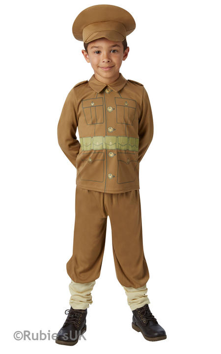 Boys Book Week WW1 Soldier Captain Costume Historical Kids Fancy Dress Outfit Thumbnail 1