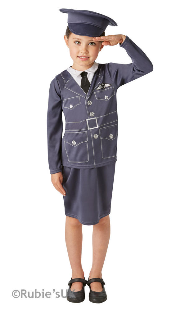 Girls WRAF Book Week Costume Kids Womens Royal Air Force Fancy Dress Outfit