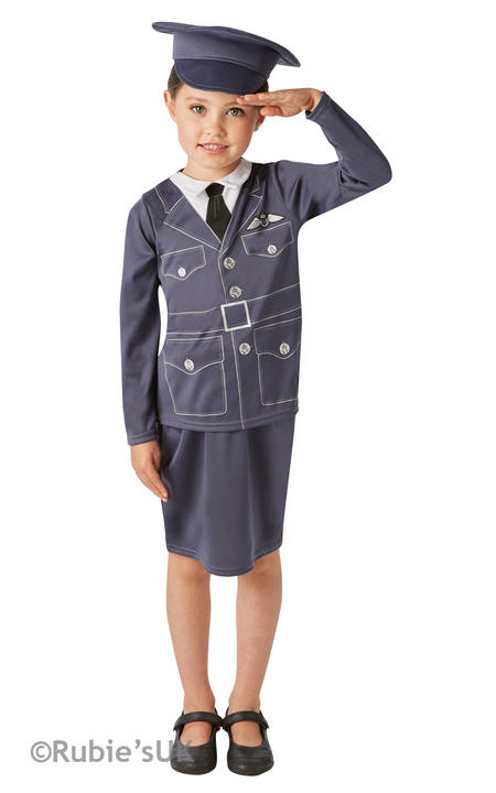 Girls WRAF Book Week Costume Kids Womens Royal Air Force Fancy Dress Outfit Thumbnail 1