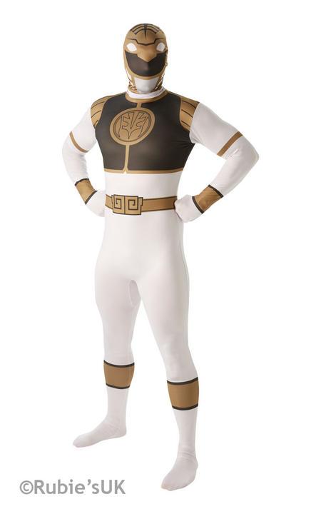 Men's White Ranger 2nd Skin Fancy Dress Costume Thumbnail 1