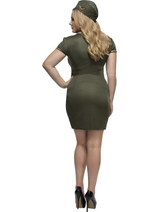 Women's Fever Curves Army Fancy Dress Costume Thumbnail 2