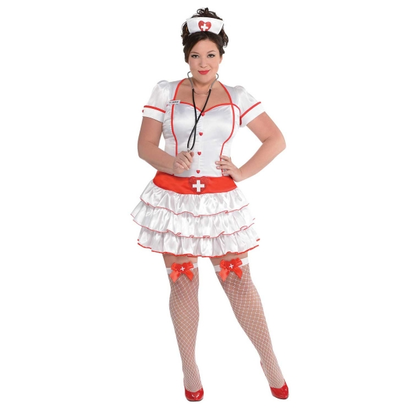 Deluxe Sexy Nurse Uniform Ladies Plus Size Fancy Dress Costume Party Outfit