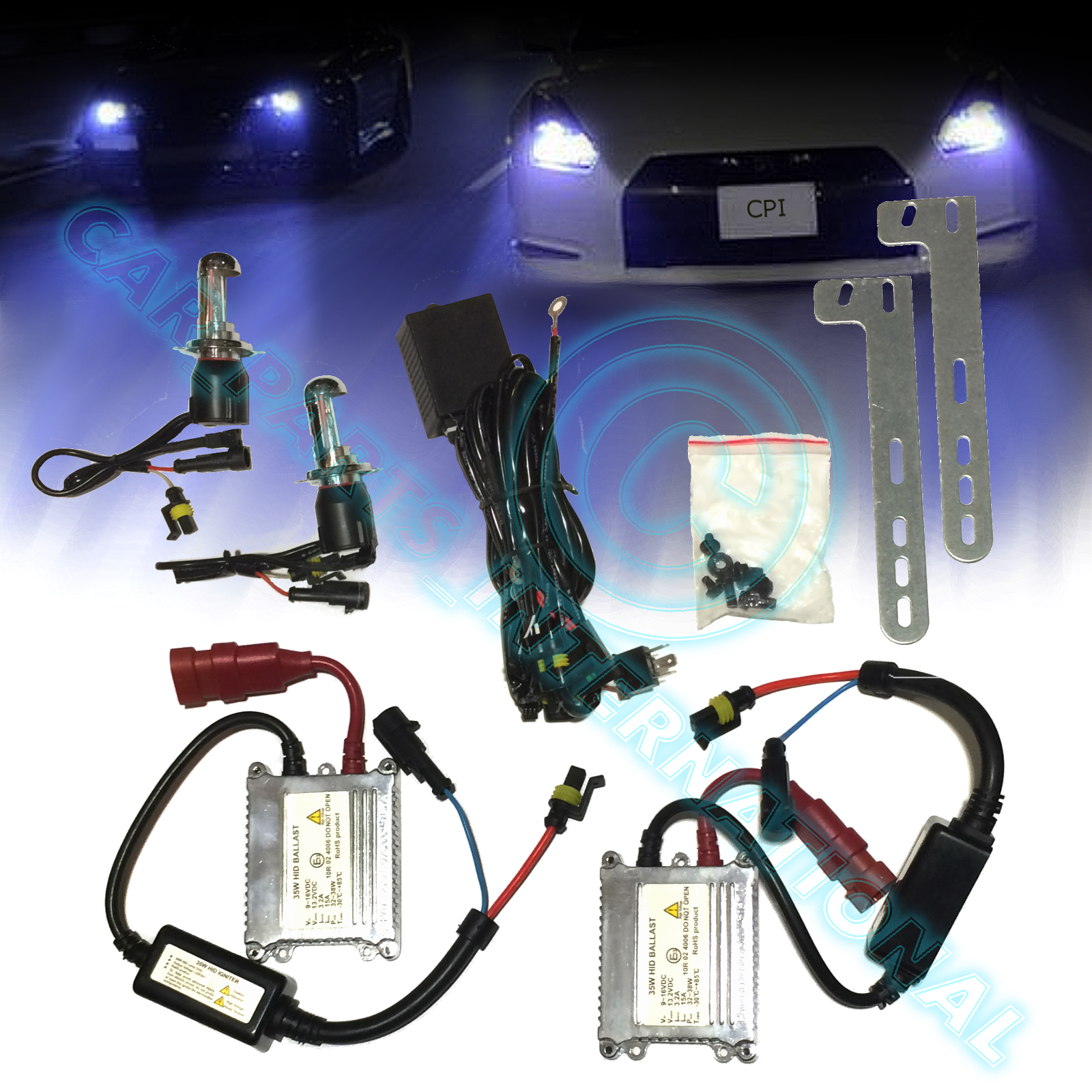 Peugeot Partner 55w ICE Blue Xenon HID High//Low//Canbus LED Side Headlight Bulbs