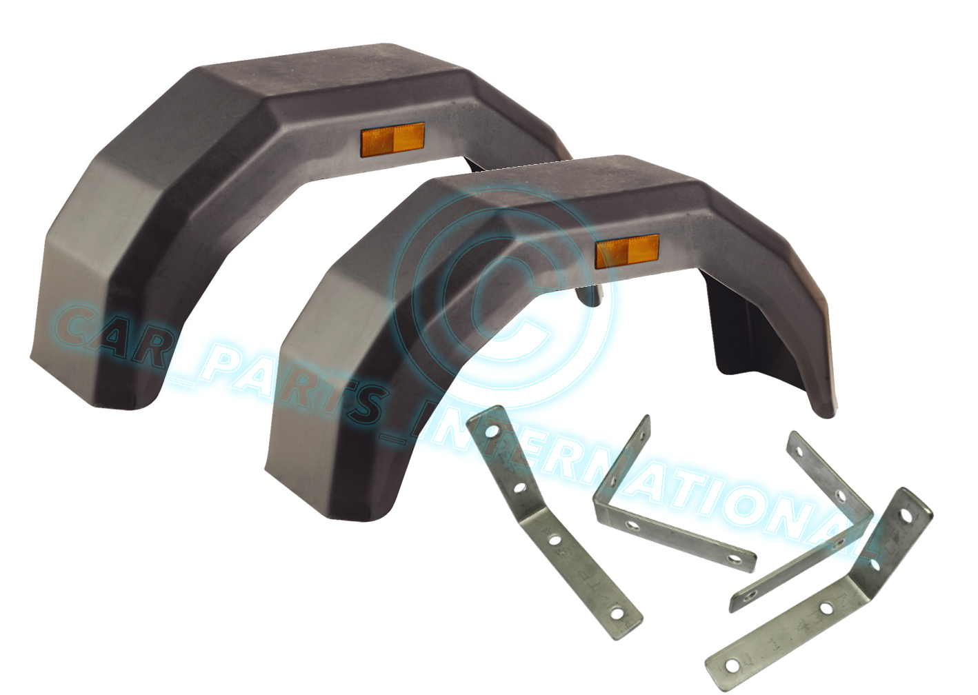 2 X Plastic Mudguard Arch Mud Guard Large Trailer Wheel Reflectors Amp Brackets Ebay