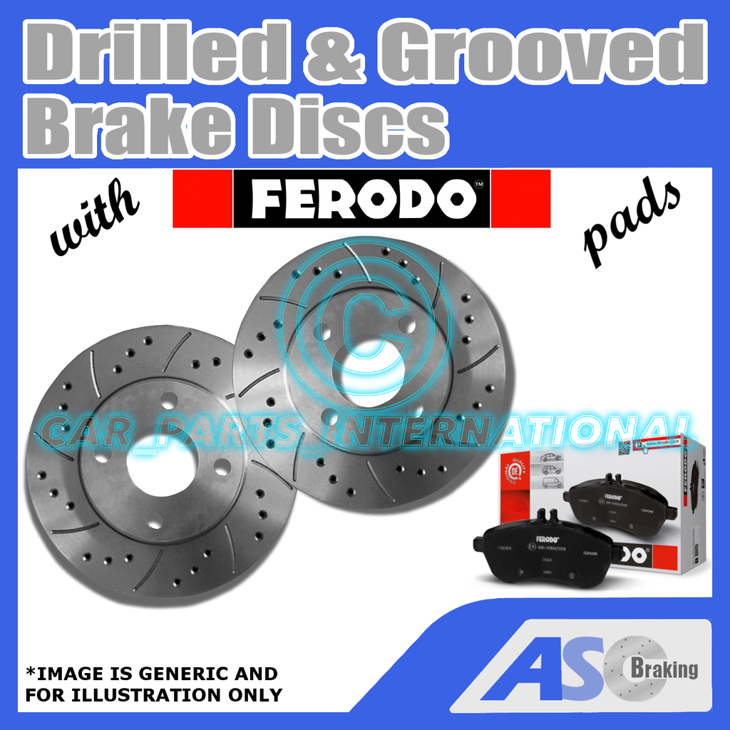 Drilled /& Grooved 5 Stud 280mm Vented Brake Discs D/_G/_2096 with Ferodo Pads