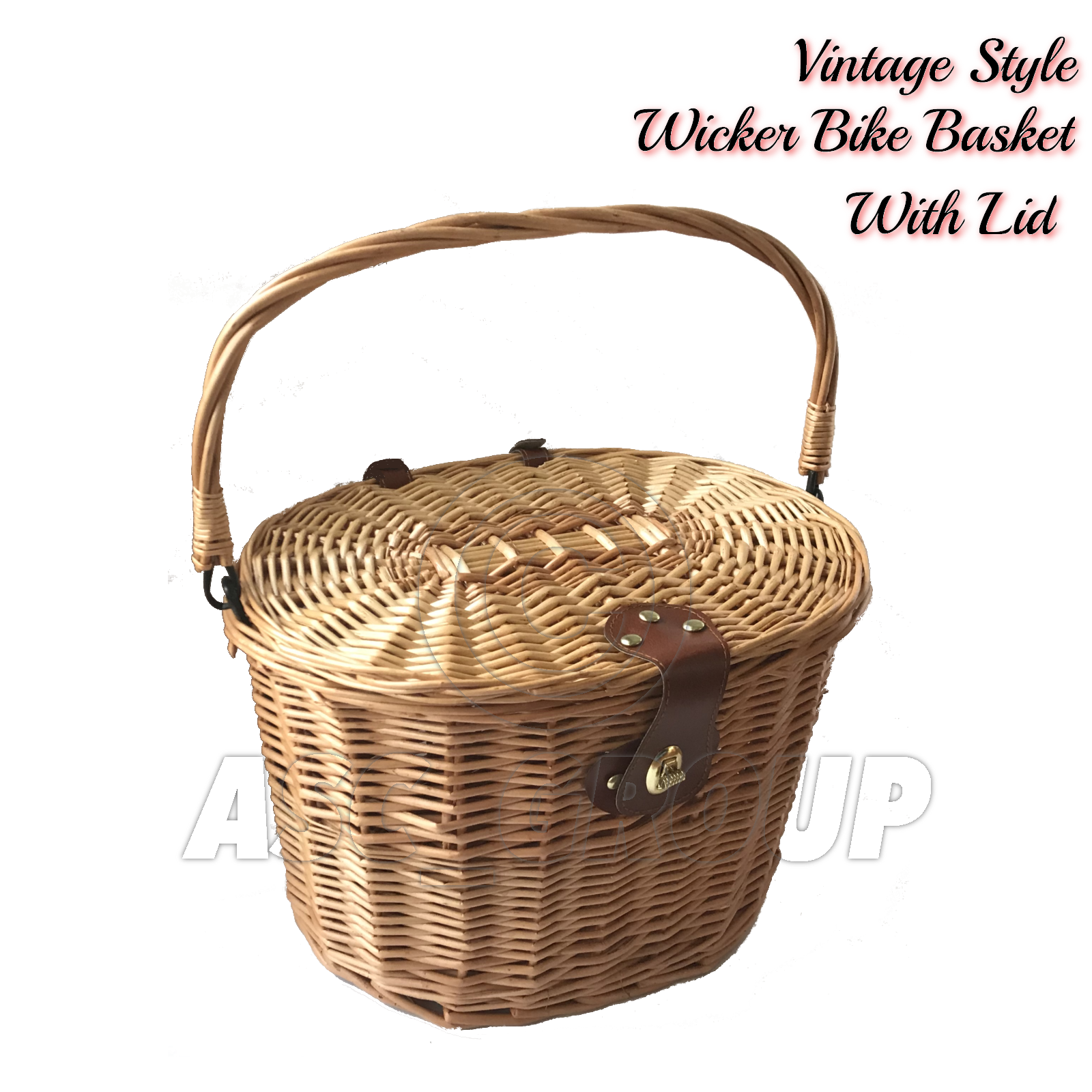 bicycle wicker basket shopping bag with lid bike cycling carry handle ebay. Black Bedroom Furniture Sets. Home Design Ideas