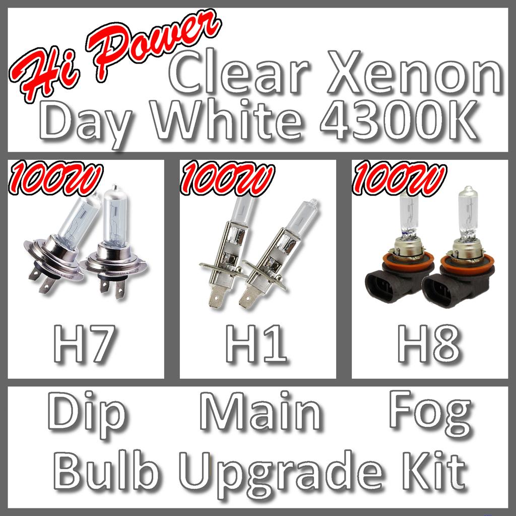 XENON BULBS DIP MAIN AND FOG LIGHT H7 H1 H8 100w