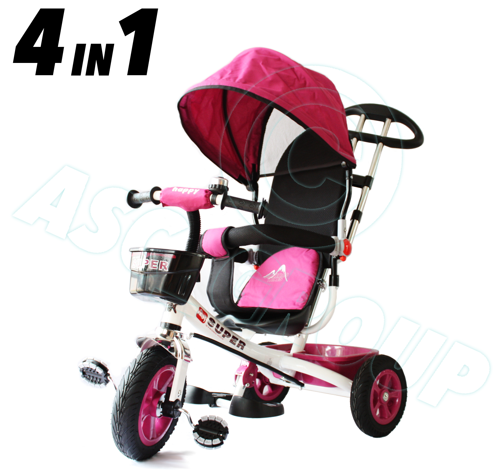 White Amp Pink 4in1 Trike Push Along Children Kids Ride On